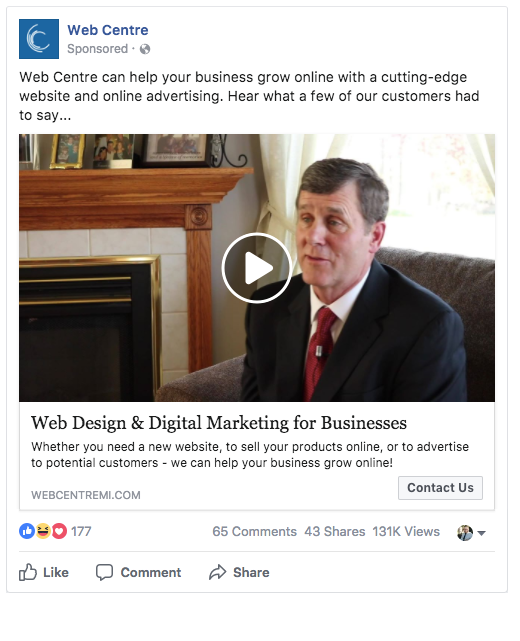 Facebook Advertising Example by Web Centre in Flint, Michigan