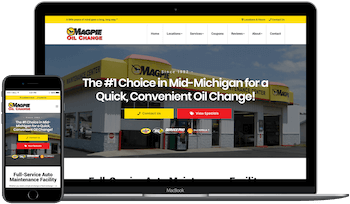 Magpie Oil Change Web Design in Burton Example Image