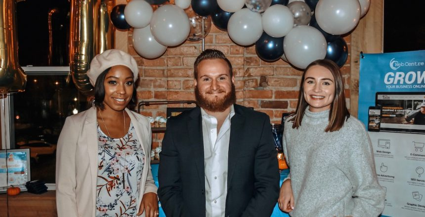 Web Centre team at event. From Left to Right: Kristen Townsel, Robert Norcross, Bailey RaCosta